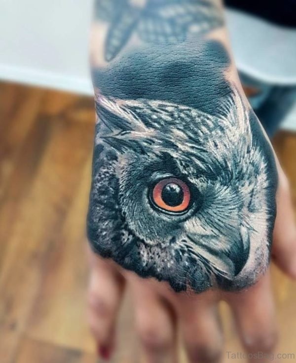 Owl Face Tattoo On hand
