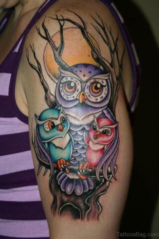 Owl Family Tattoo On Shoulder