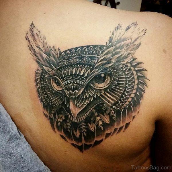 Owl Head Tattoo On Shoulder