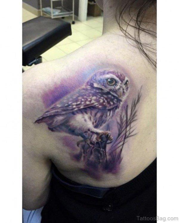 Owl Shade Tattoo On Shoulder