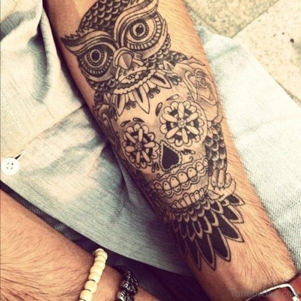 Owl Skull Tattoo On Wrist