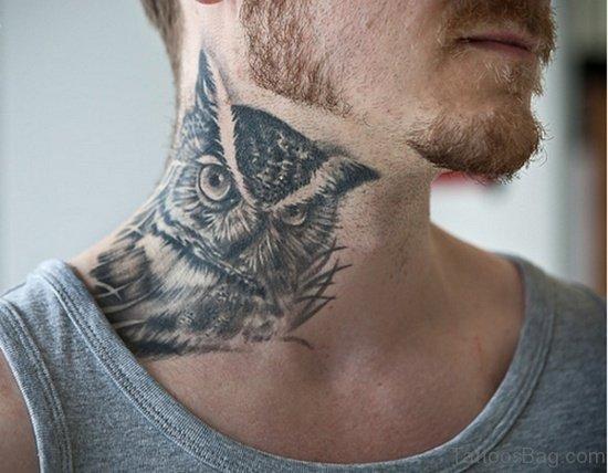 Owl Tattoo Design On Neck