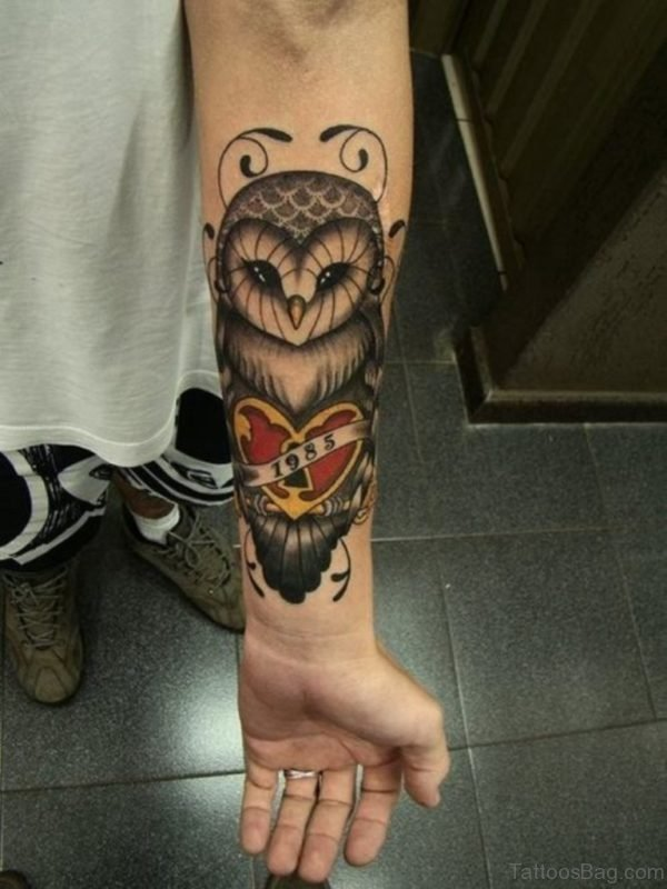 Owl Tattoo Design On Wrist