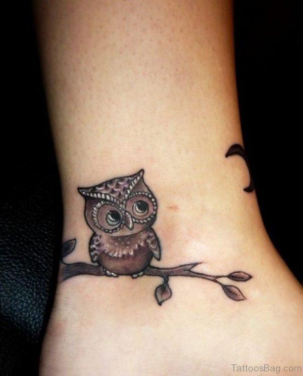 Owl Tattoo On Ankle