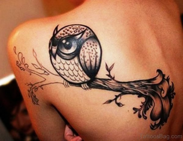 Owl Tattoo On Back Shoulder