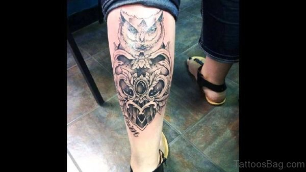 Owl Tattoo On Calf