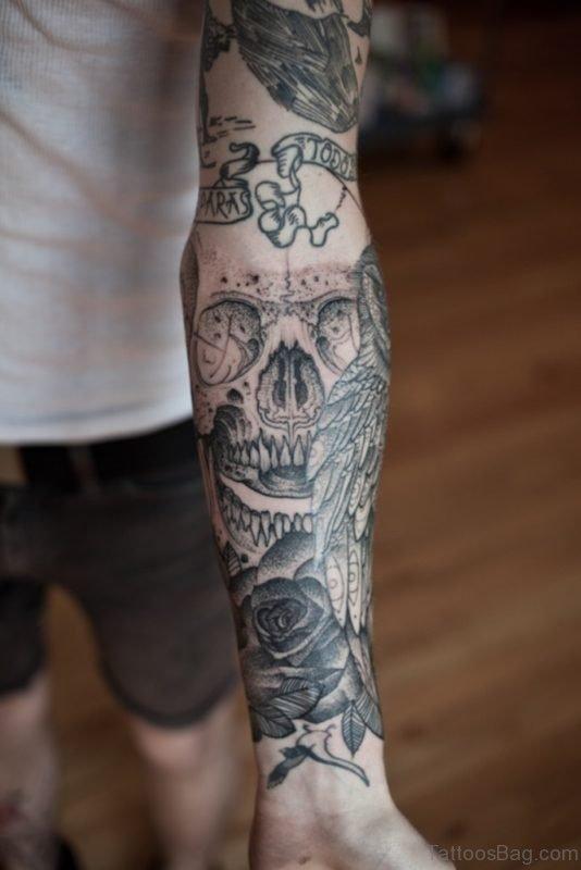 Owl Tattoo On Full Sleeve Tattoo