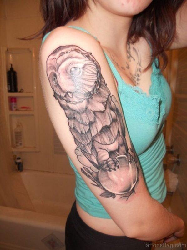 Owl Tattoo On Half Sleeve 1 TB1147ST1148