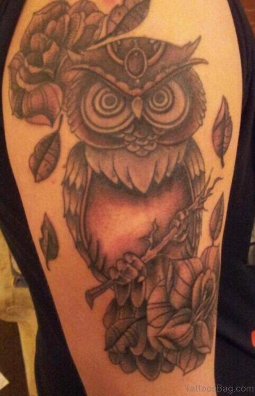 Owl Tattoo On Half Sleeve TB14076St1076