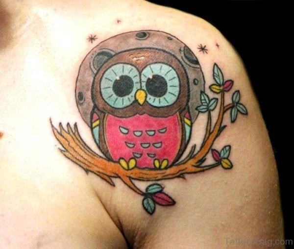 Owl Tattoo On Left Shoulder