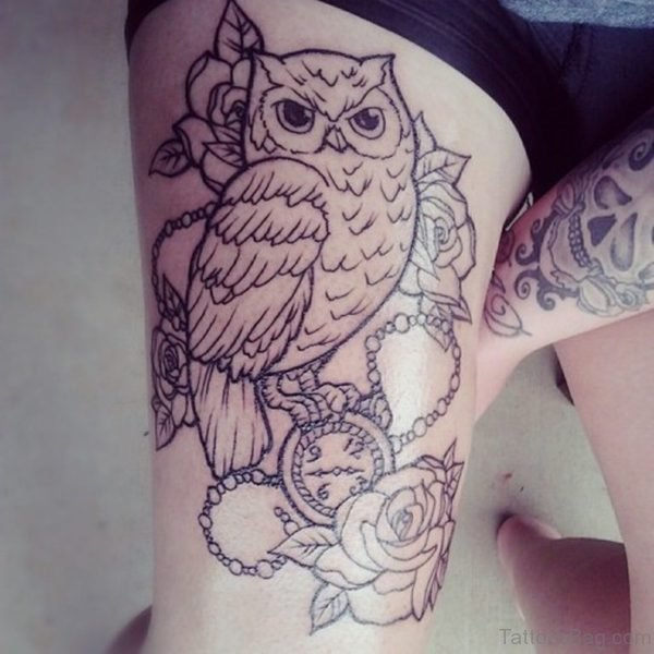 Owl Tattoo On Thigh