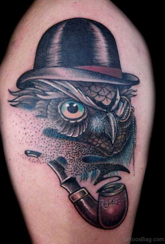 Owl Tattoo With Hat