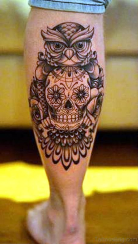 Owl With Skull Tattoo On Calf