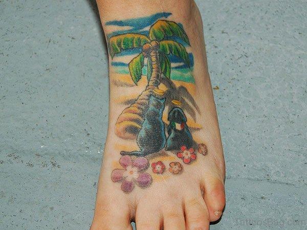 Palm Tattoo On Foot