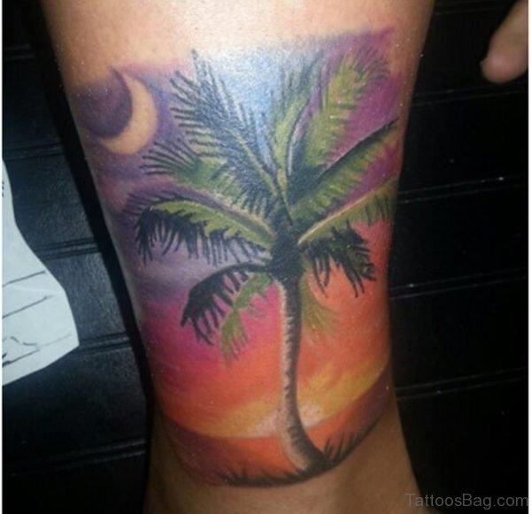 Palm Tree Tattoo Design On Leg