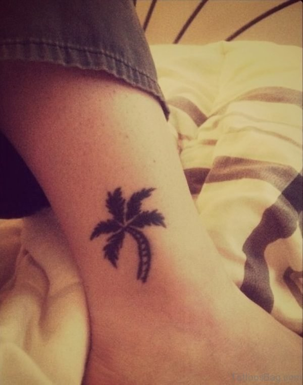 Palm Tree Tattoo On Ankle