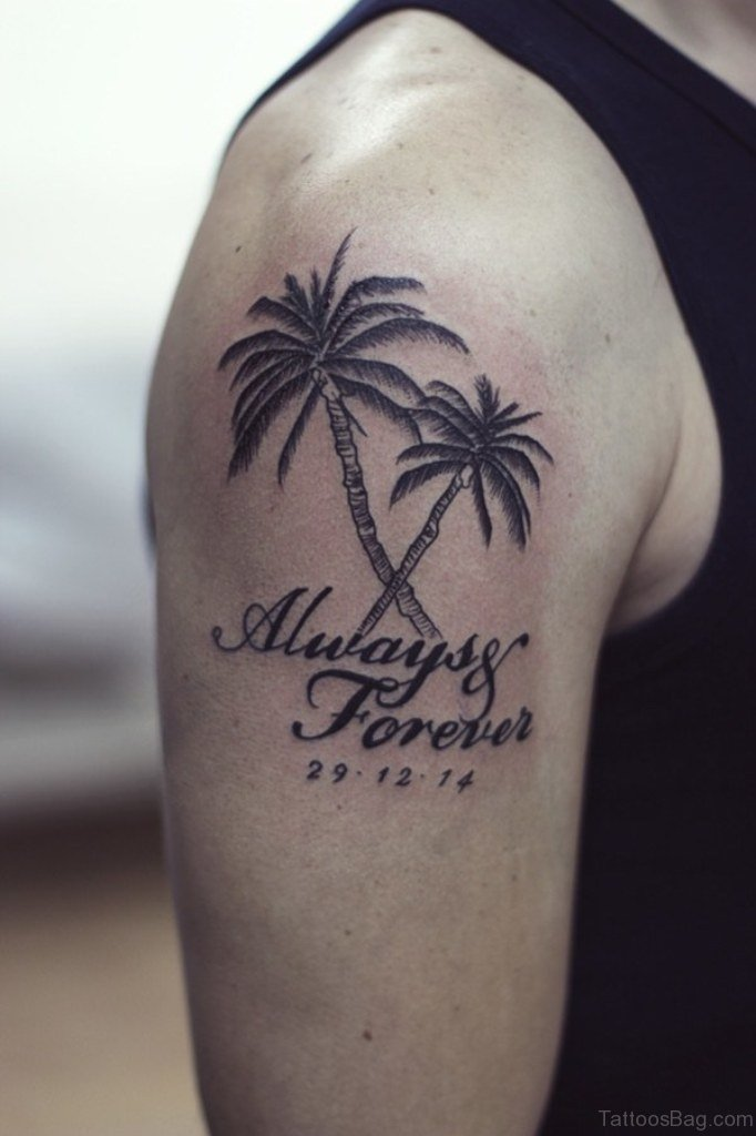 51 classic tree tattoos for shoulder for Palm tree ankle tattoo