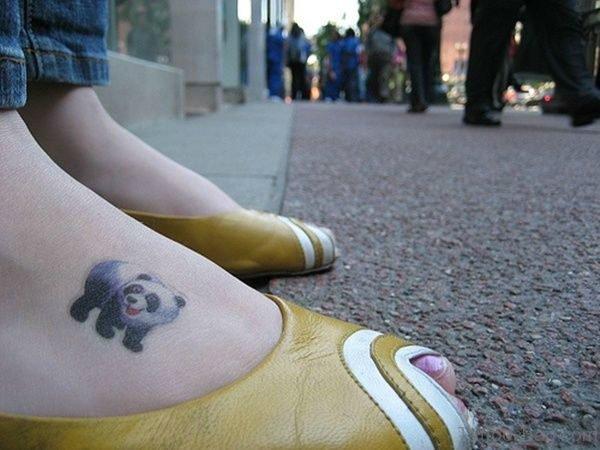 Panda Tattoo On Foot