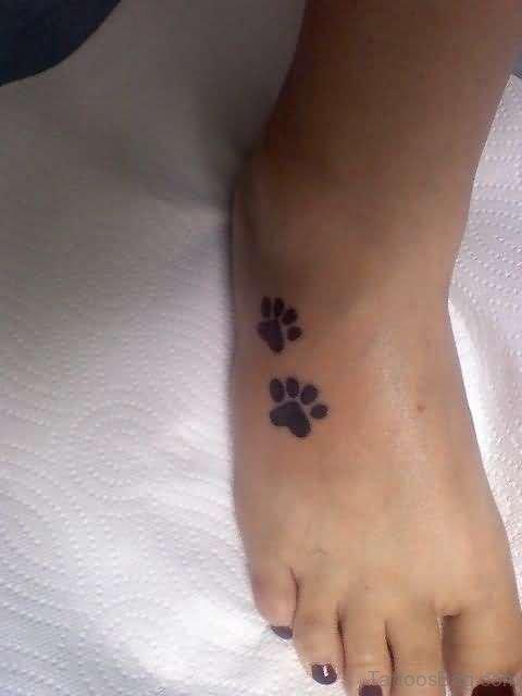 Paw Tattoo On Foot
