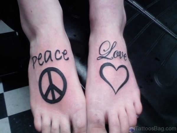Peace And Heart Tattoo On Foot