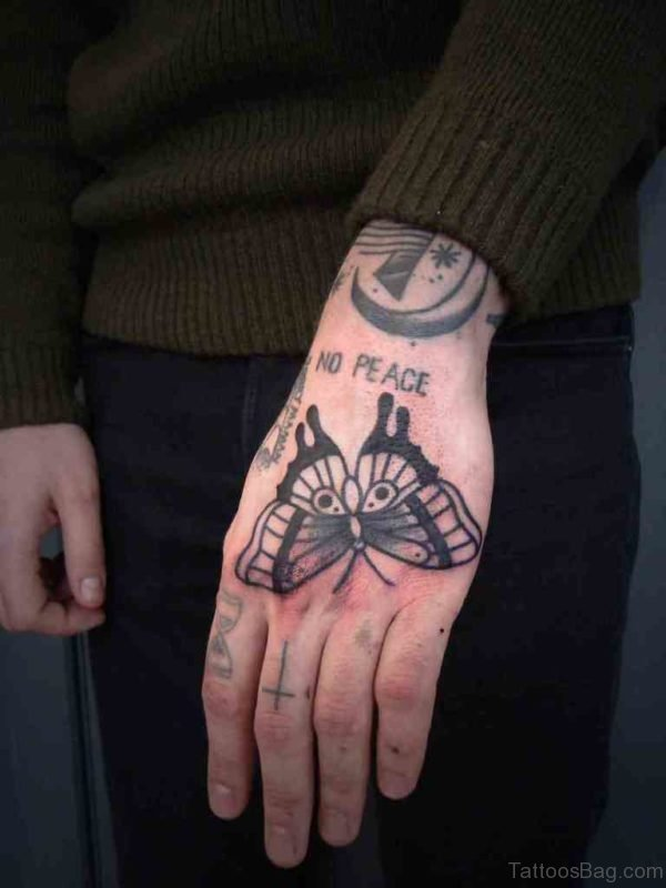 Peace Butterfly 3D Tattoo On Hand