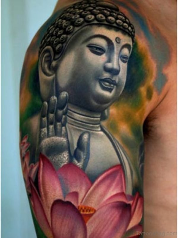 Peaceful Buddhist Tattoo Design On Shoulders