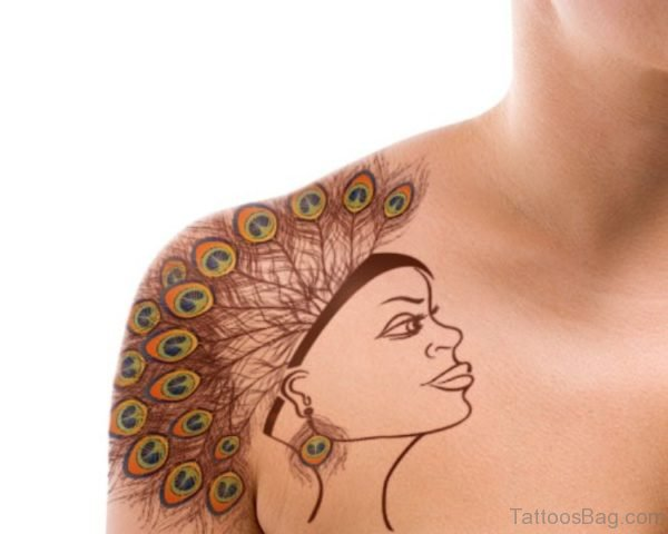 Peacock Feather Crown Tattoo On Shoulder