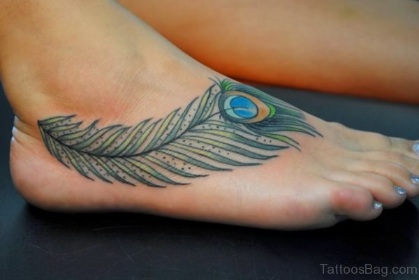 Peacock Feather Tattoo Design On Foot