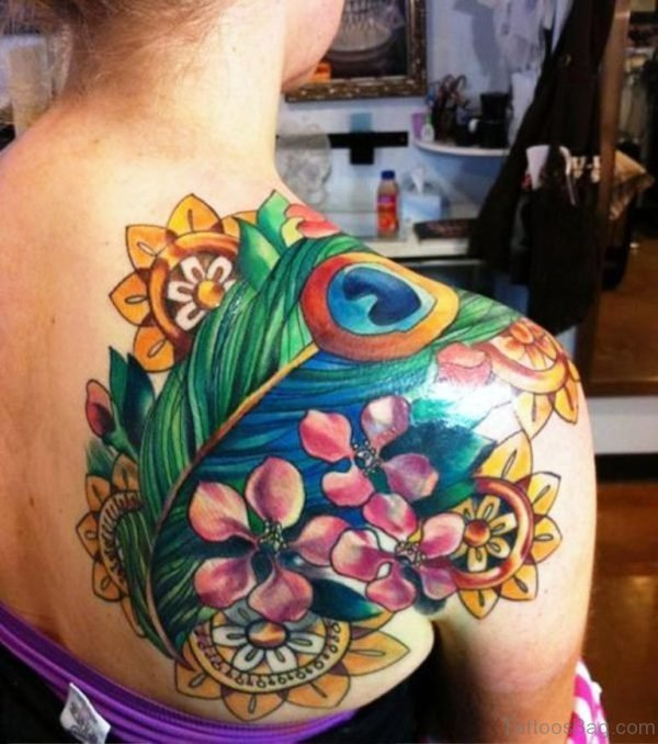 Peacock Feather Tattoo On Back