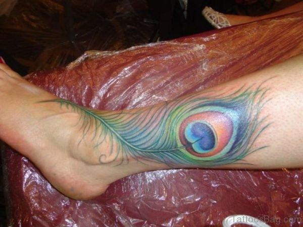 Peacock Feather Tattoo on Leg