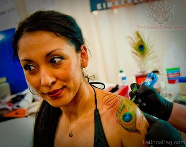 Peacock Feather Tattoo on Shoulder Blade