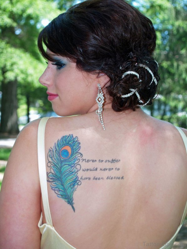 Peacock Feather With Word Tattoo