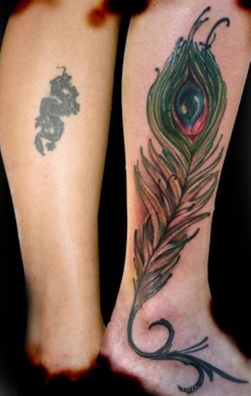Peacock Feather and Dragon Tattoo