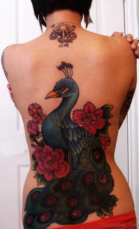 Peacock Tattoo Design On Full Back