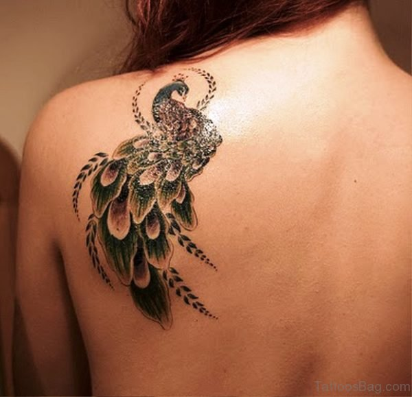 Peacock Tattoo On Back Shoulder