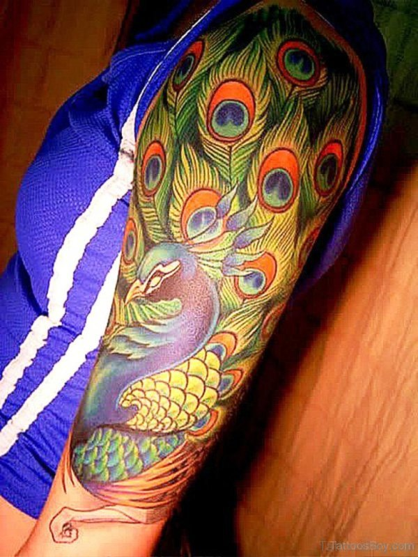Peacock Tattoo On Full Shoulder