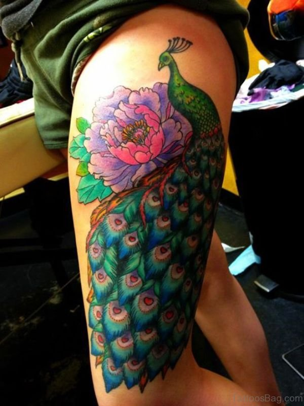 Peacock Tattoo On Full Thigh
