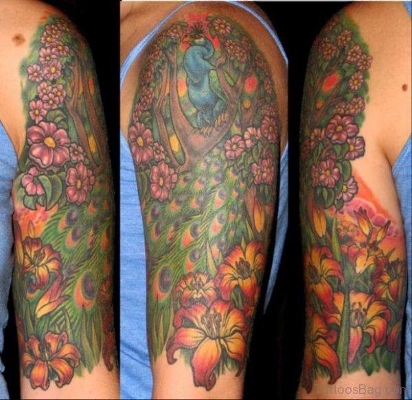 Peacock Tattoo On Half Sleeve TB1063ST1062