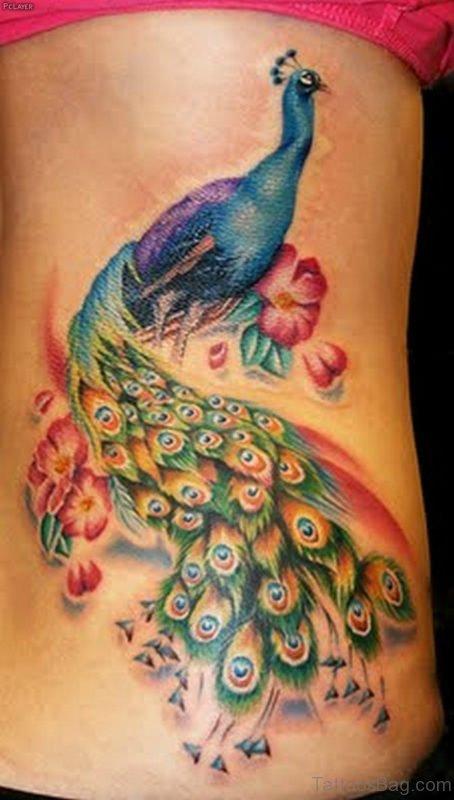 Peacock Tattoo On Rib