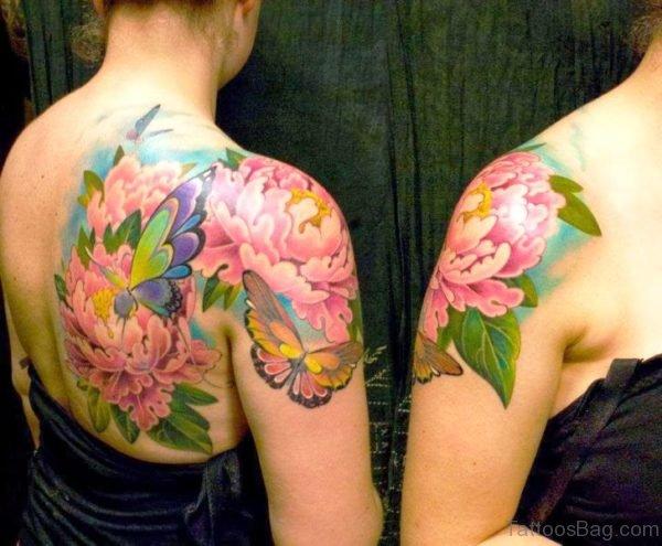 Peony Tattoo On Shoulder