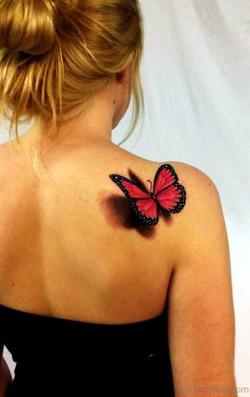 Perfect 3D Butterfly Tattoo On Back Shoulder