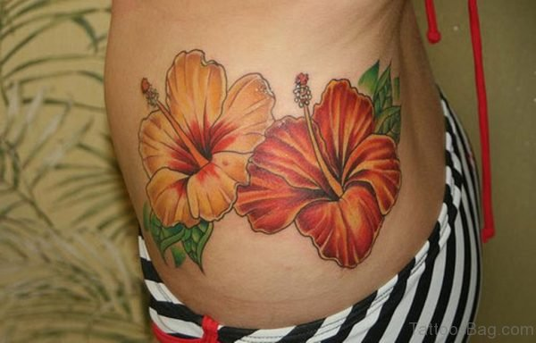 Perfect Hibiscus Flower Tattoo For Waist