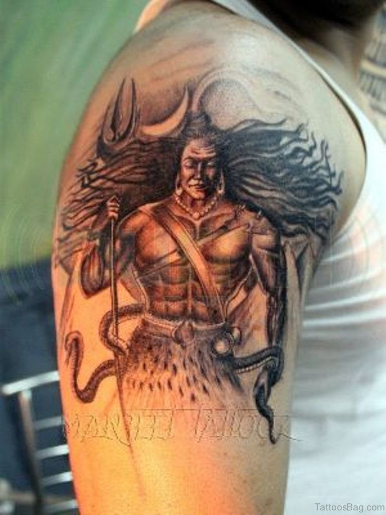 35 nice shiva tattoos on shoulder. Black Bedroom Furniture Sets. Home Design Ideas