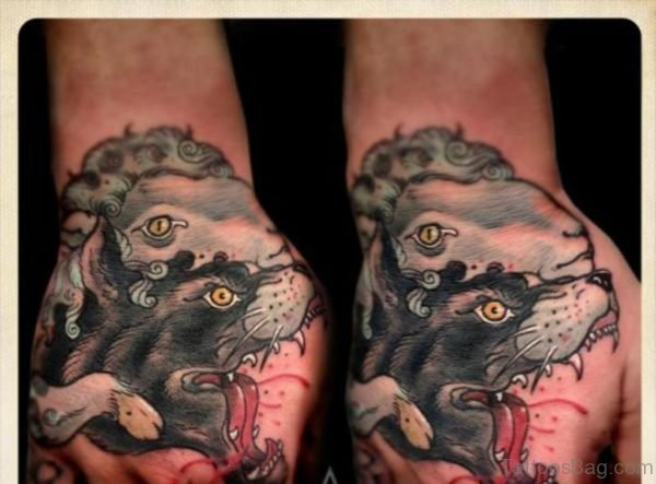 Perfect Wolf Tattoo On Hand