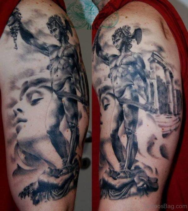 Perseus Vs Medusa Half Sleeve Tattoo