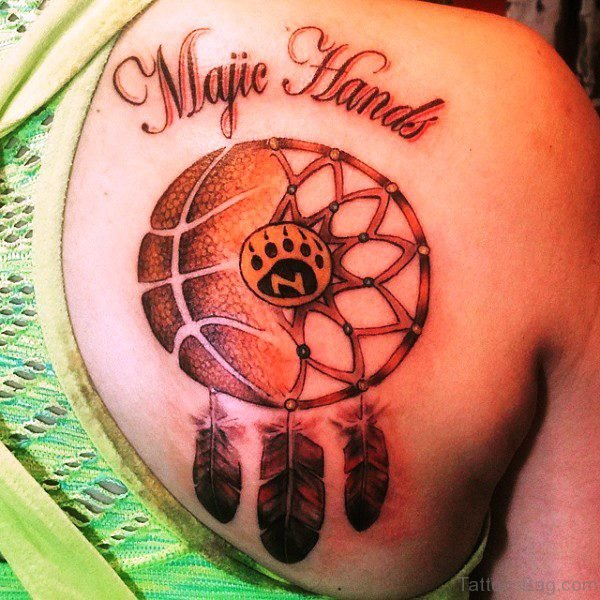 Phenomenal Basketball With Feathers Tattoo