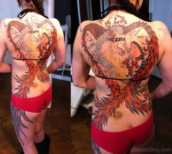 Phoenix Tattoo Design On Back