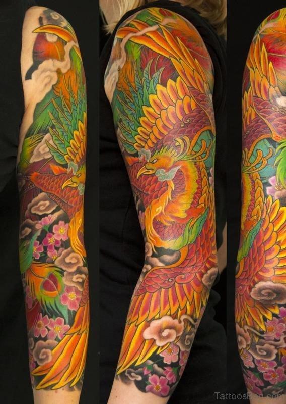 Phoenix Tattoo Design On Full Sleeve