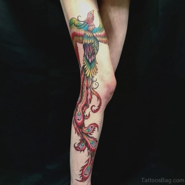 Phoenix Tattoo Design On Leg