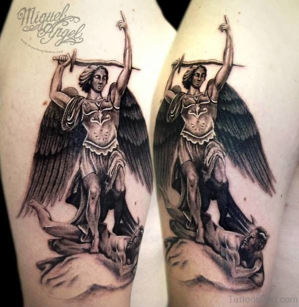 Picture Of Archangel Tattoo On Shoulder